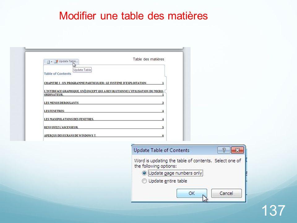 137 Modifier une table des matières