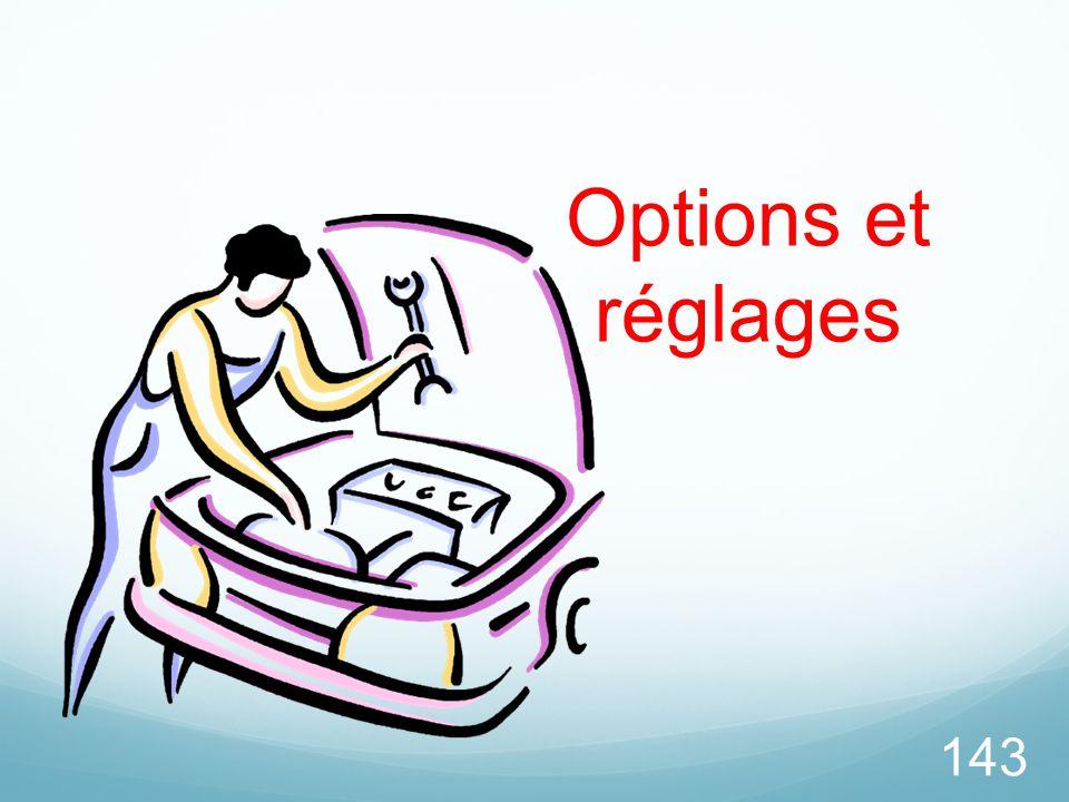 143 Options et réglages