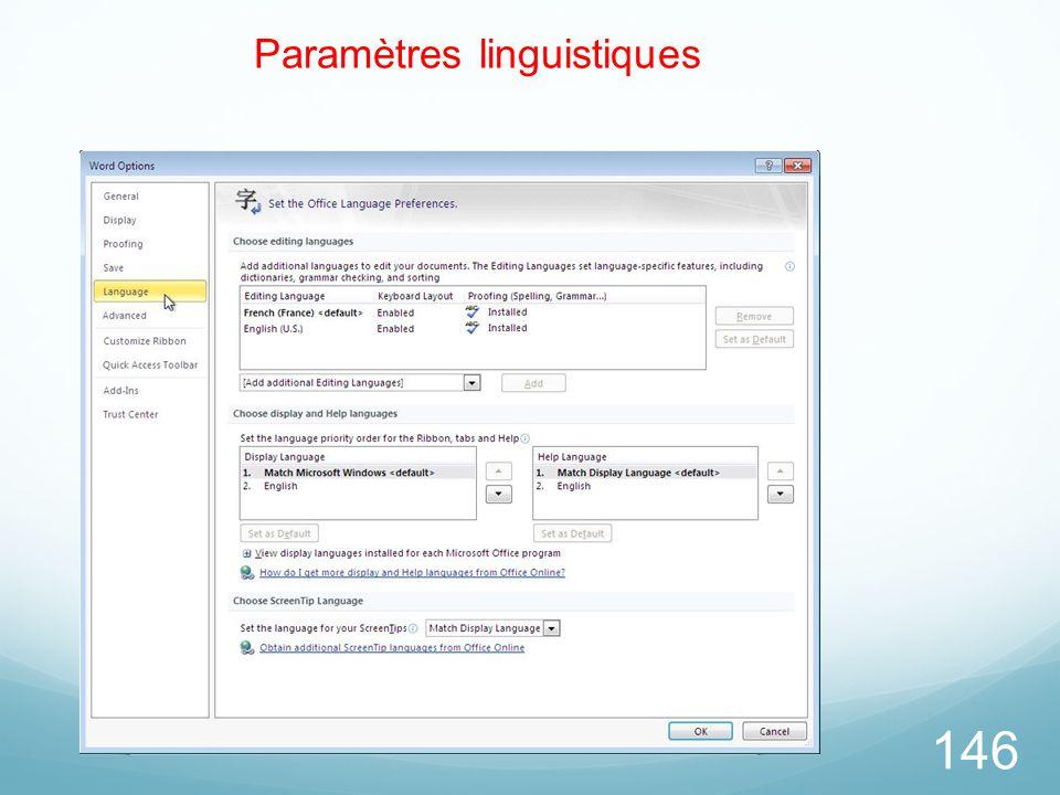 146 Paramètres linguistiques