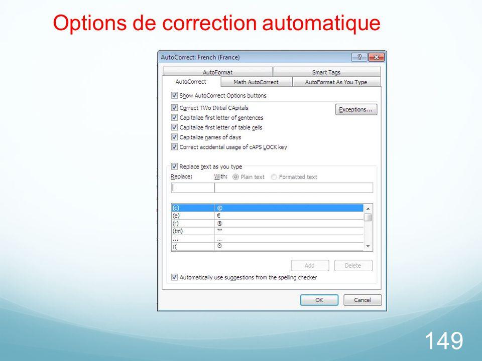 149 Options de correction automatique