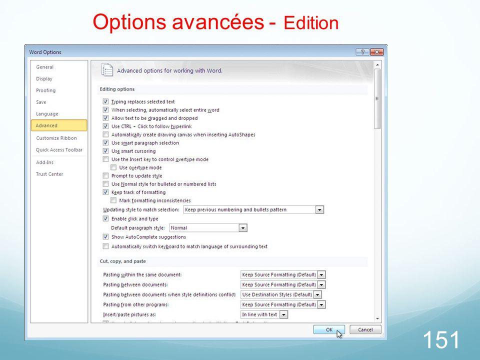 151 Options avancées - Edition