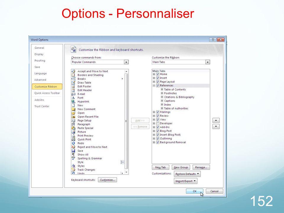 152 Options - Personnaliser