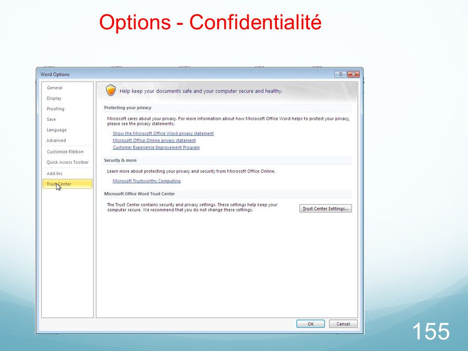 155 Options - Confidentialité