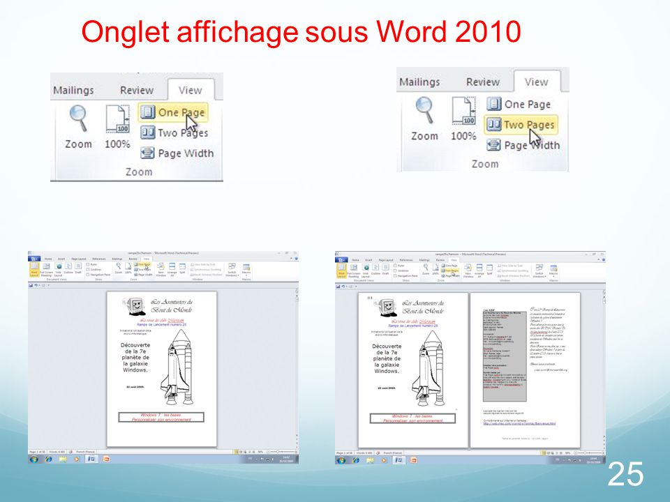 25 Onglet affichage sous Word 2010