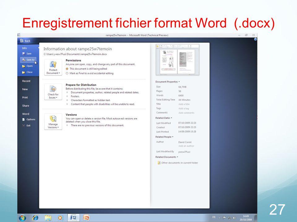 27 Enregistrement fichier format Word (.docx)
