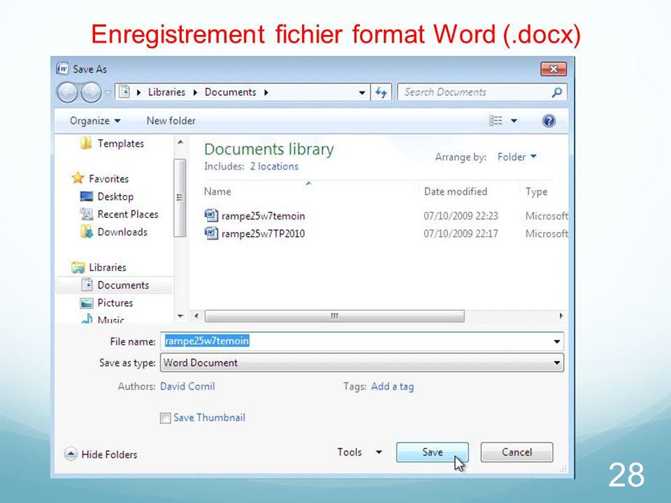 28 Enregistrement fichier format Word (.docx)
