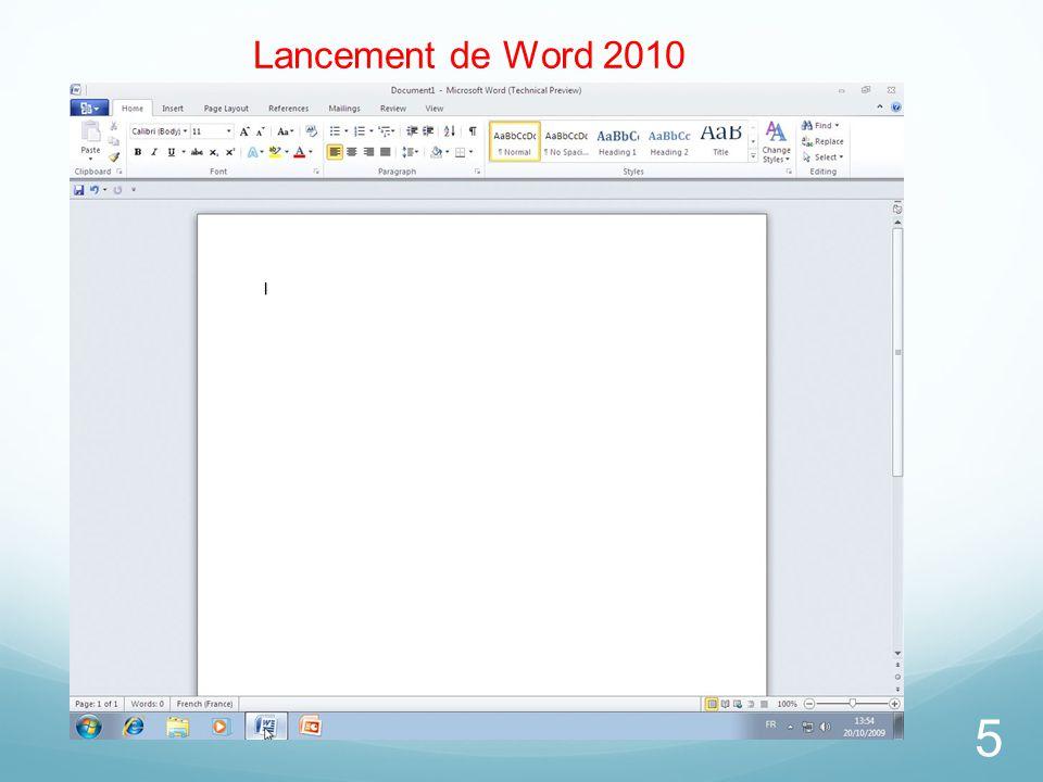5 Lancement de Word 2010
