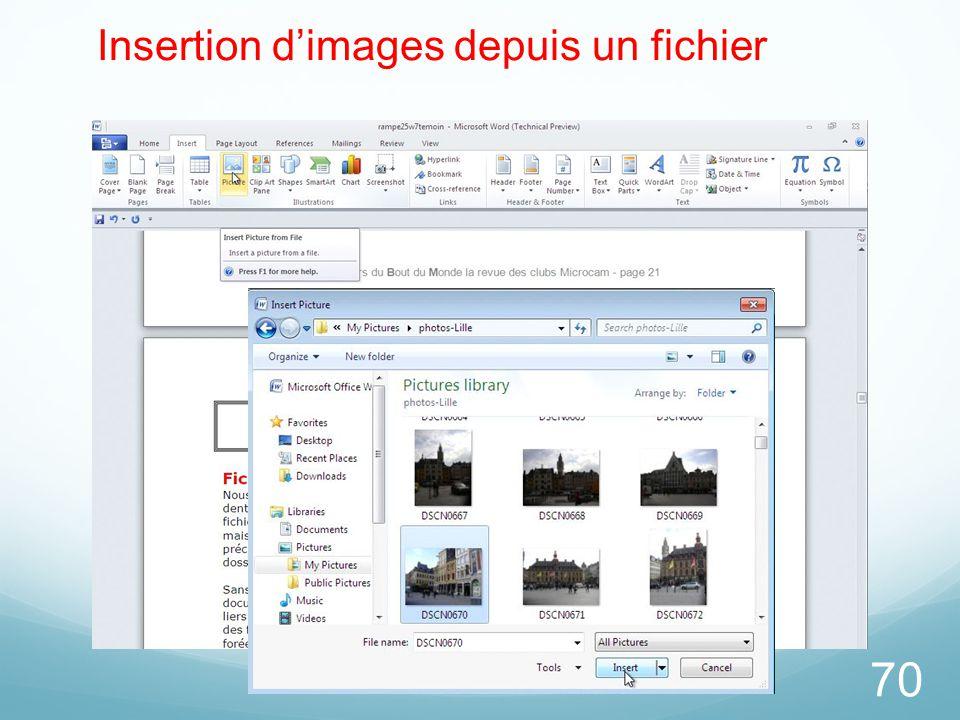 70 Insertion d'images depuis un fichier