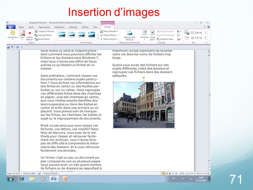 71 Insertion d'images