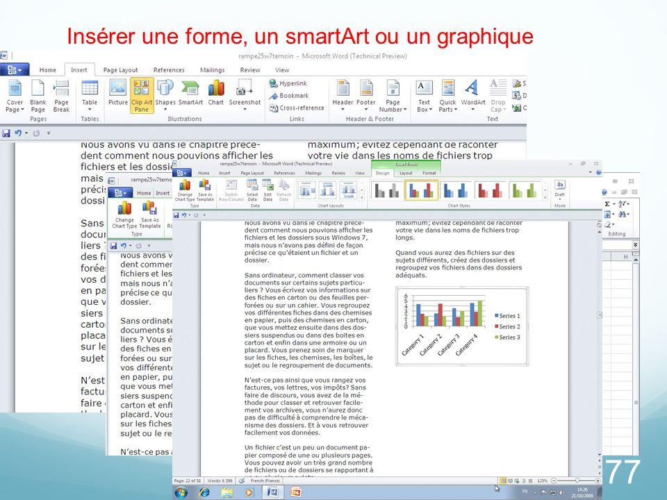 77 Insérer une forme, un smartArt ou un graphique
