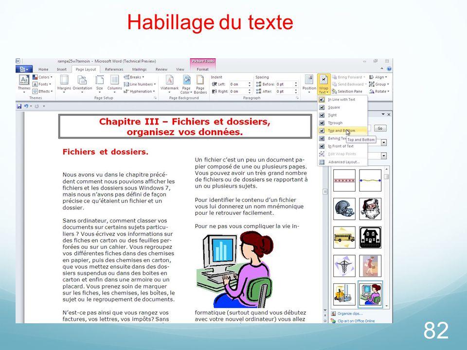 82 Habillage du texte