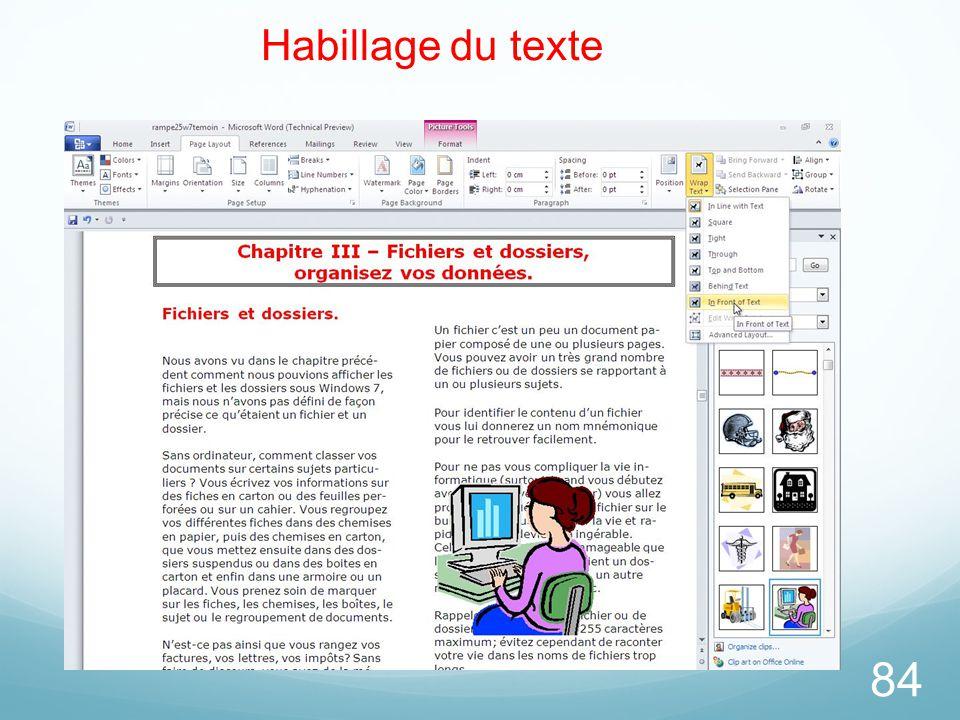 84 Habillage du texte