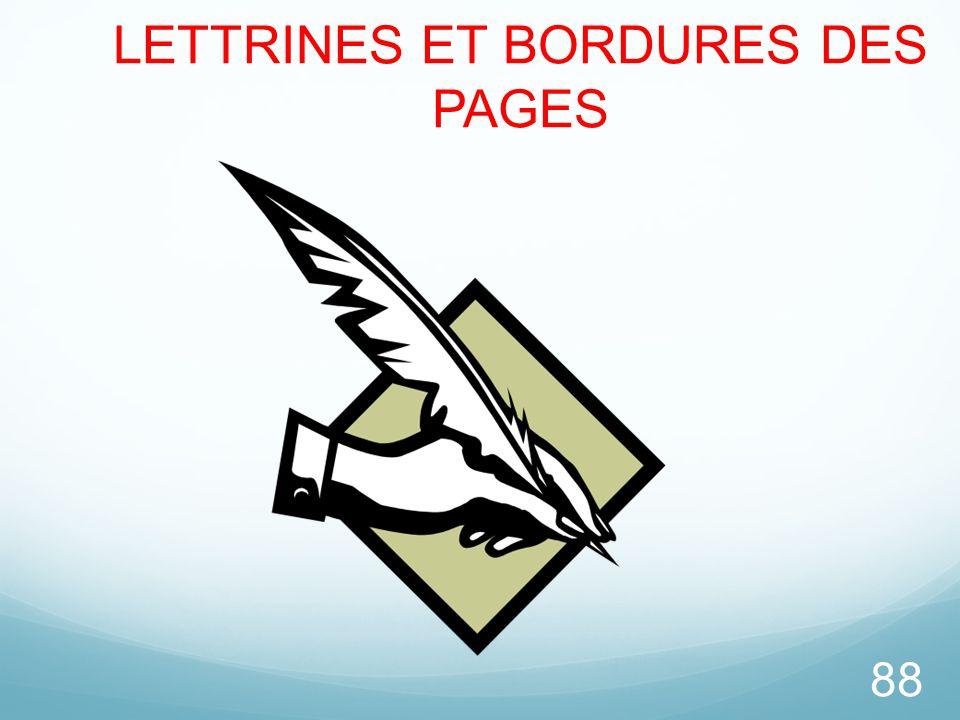 88 LETTRINES ET BORDURES DES PAGES
