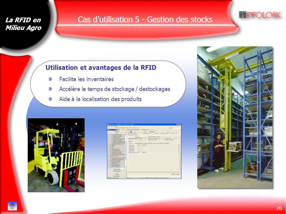 26 Cas d'utilisation 5 - Gestion des stocks Facilite les inventaires Accélère le temps de stockage / destockages Aide à la localisation des produits L