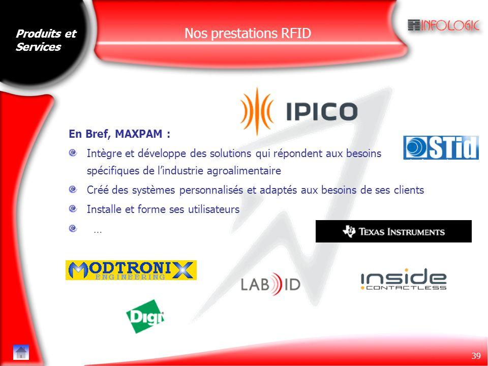 39 Nos prestations RFID En Bref, MAXPAM : Intègre et développe des solutions qui répondent aux besoins spécifiques de l'industrie agroalimentaire Créé