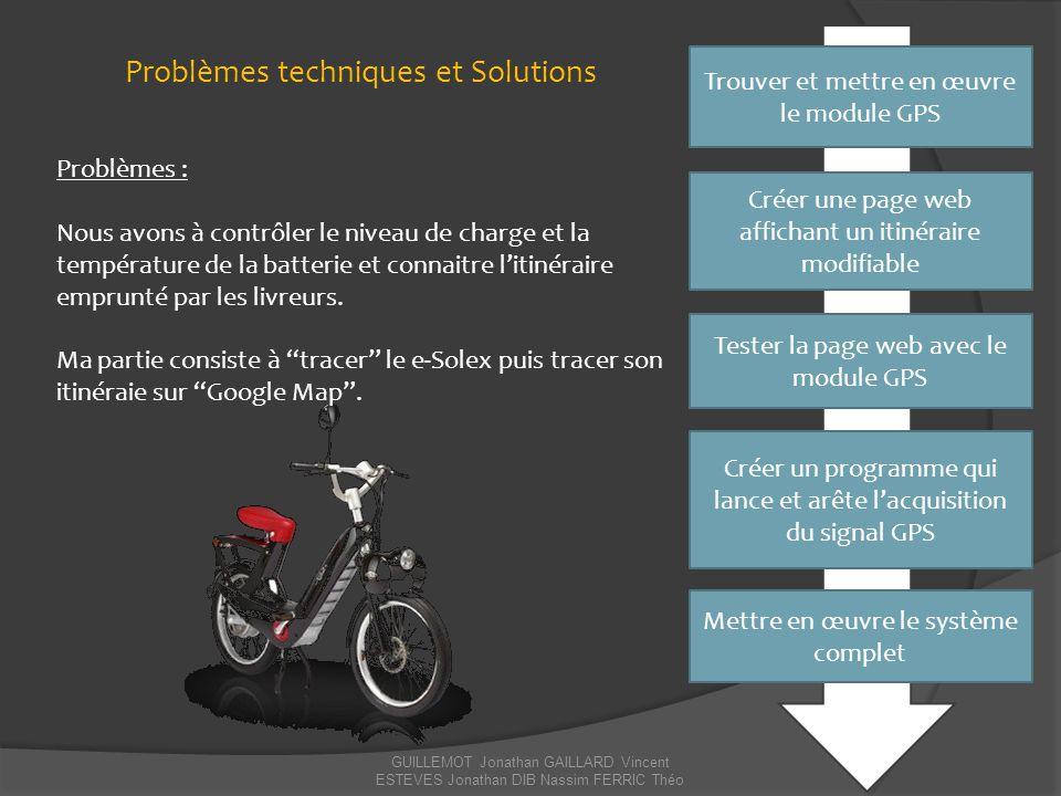 GUILLEMOT Jonathan GAILLARD Vincent ESTEVES Jonathan DIB Nassim FERRIC Théo Solutions de maintenance Problèmes : - L'itinéraire n'est plus modifié.