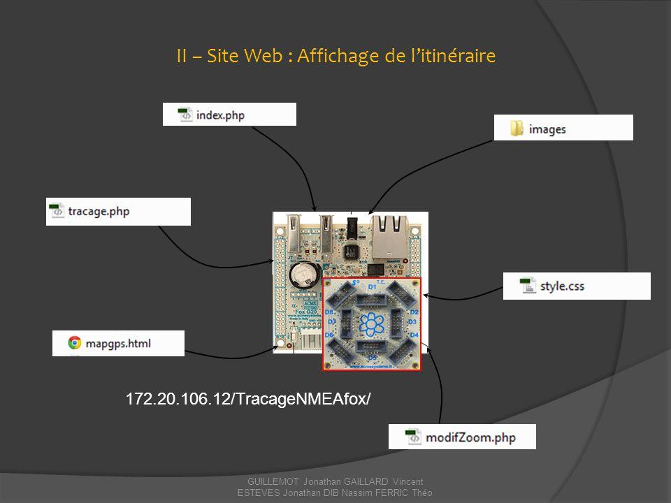 GUILLEMOT Jonathan GAILLARD Vincent ESTEVES Jonathan DIB Nassim FERRIC Théo II – Site Web : Affichage de l'itinéraire 172.20.106.12/TracageNMEAfox/