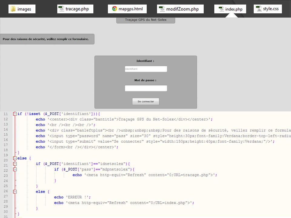 En tête [html] Test : - vérification de « fichierGPS.txt » et « mapgps.html»[php] - chaque ligne contenant « $GPGGA», commencent bien par « $ » tant que : fin du fichier 170 lignes pour - isoler l'heure départ - isoler l'heure d'arrivée - écrire une chaine de caractère incluant toues des coordonnées successives de type « [ [ latitude, longitude ], [ latitude, longitude ] ] » fin tant que réécriture de la page « mapgps.html » avec les nouvelles coordonnées (150 lignes) affichage du site [html] + [php] (30 lignes)