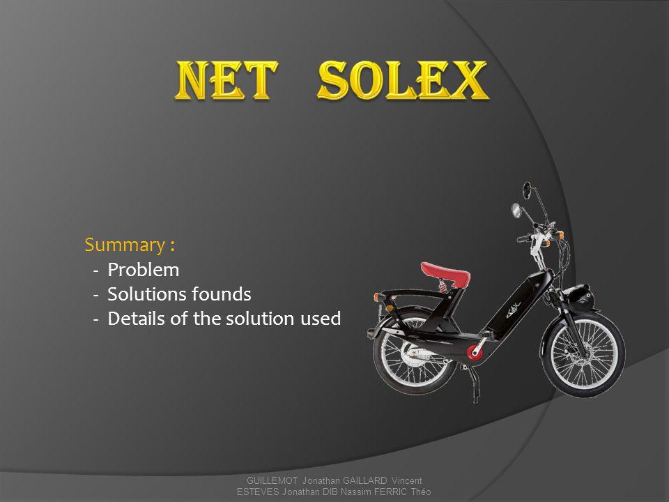GUILLEMOT Jonathan GAILLARD Vincent ESTEVES Jonathan DIB Nassim FERRIC Théo Presentation of e – Solex The e-Solex motorized bike can reach speeds of 35 km / h.