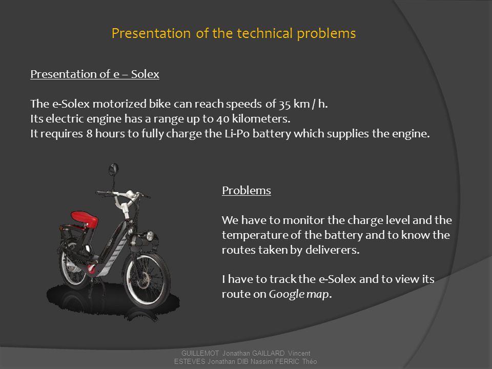 GUILLEMOT Jonathan GAILLARD Vincent ESTEVES Jonathan DIB Nassim FERRIC Théo Presentation of e – Solex The e-Solex motorized bike can reach speeds of 3