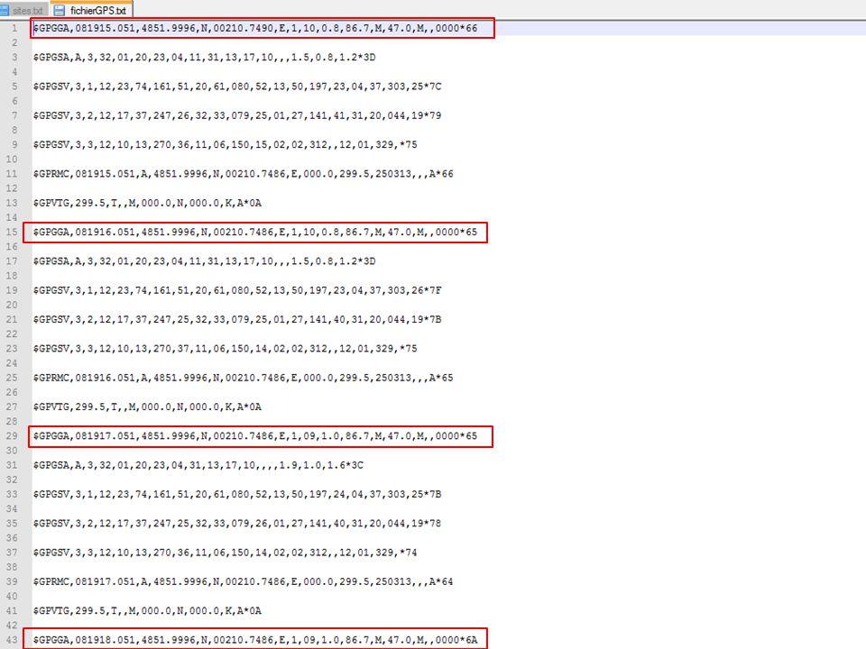 En tête [html] Si (ouverture « fichierGPS.txt »)[php] si (ouverture « mapgps.html ») tant que « $GPGGA » 170 lignes pour - isoler l'heure départ - isoler l'heure d'arrivée - écrire une chaine de caractère incluant toues des coordonnées successives de type « [ [ latitude, longitude ], [ latitude, longitude ] ] » fin tant que on réécrit la page « mapgps.html » avec les nouvelles coordonnées fin de si Fin de si On affiche le site [html] + [php] (30 lignes)