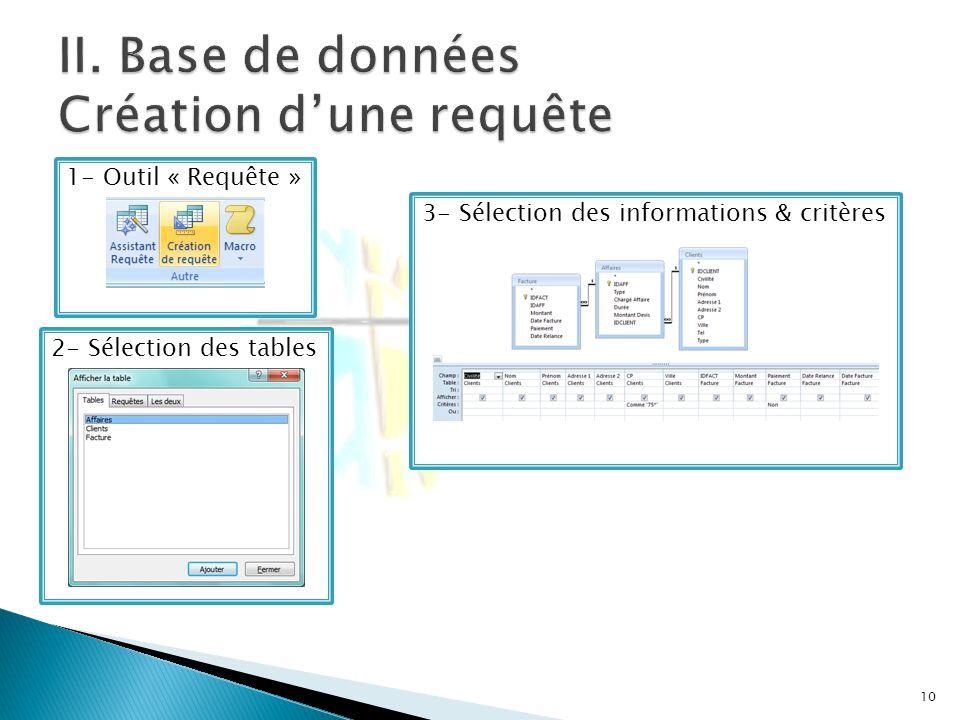 10 2- Sélection des tables 1- Outil « Requête » 3- Sélection des informations & critères