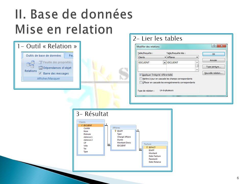 6 1- Outil « Relation »2– Lier les tables3– Résultat