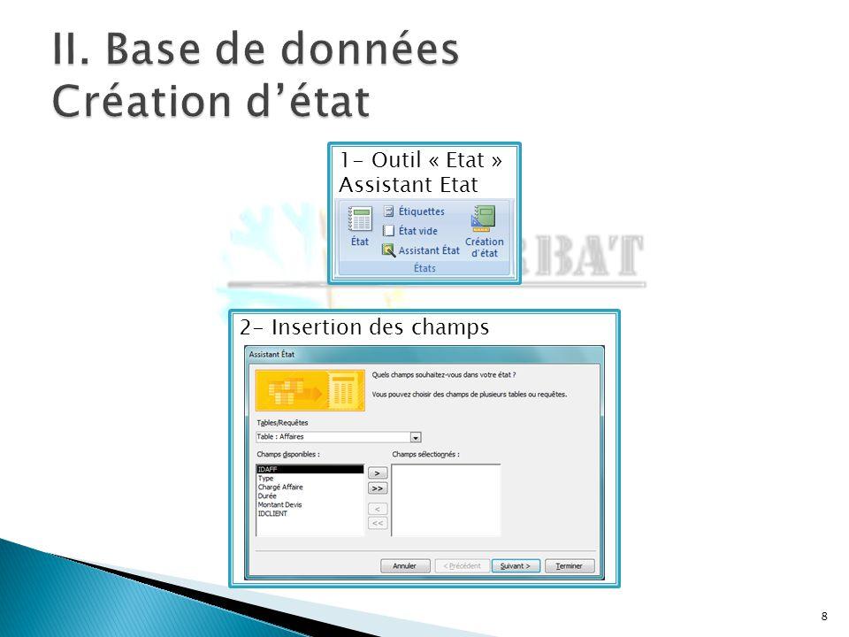 8 1- Outil « Etat » Assistant Etat 2- Insertion des champs