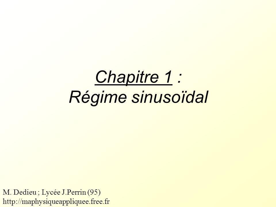 Chapitre 1 : Régime sinusoïdal M. Dedieu ; Lycée J.Perrin (95) http://maphysiqueappliquee.free.fr