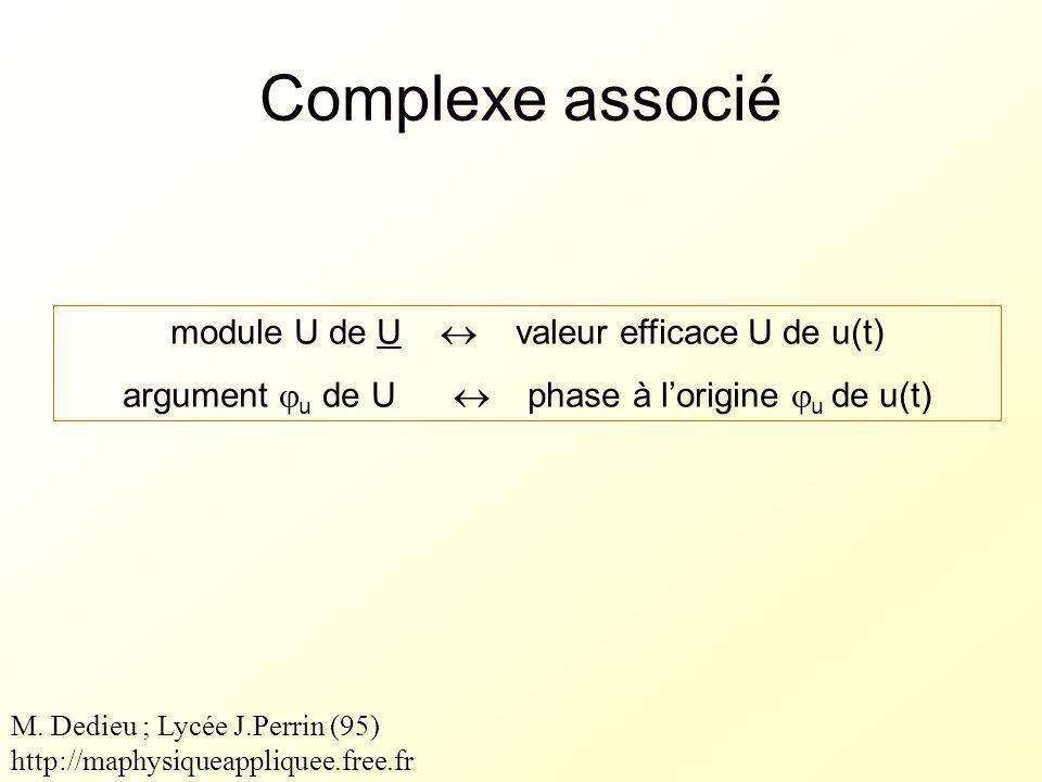 Complexe associé module U de U  valeur efficace U de u(t) argument  u de U  phase à l'origine  u de u(t) M.