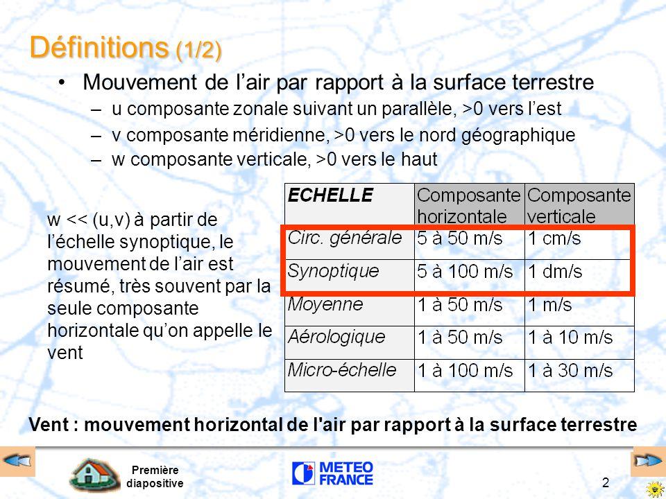 Première diapositive 2 Définitions (1/2) Mouvement de l'air par rapport à la surface terrestre –u composante zonale suivant un parallèle, >0 vers l'est –v composante méridienne, >0 vers le nord géographique –w composante verticale, >0 vers le haut w << (u,v) à partir de l'échelle synoptique, le mouvement de l'air est résumé, très souvent par la seule composante horizontale qu'on appelle le vent Vent : mouvement horizontal de l air par rapport à la surface terrestre