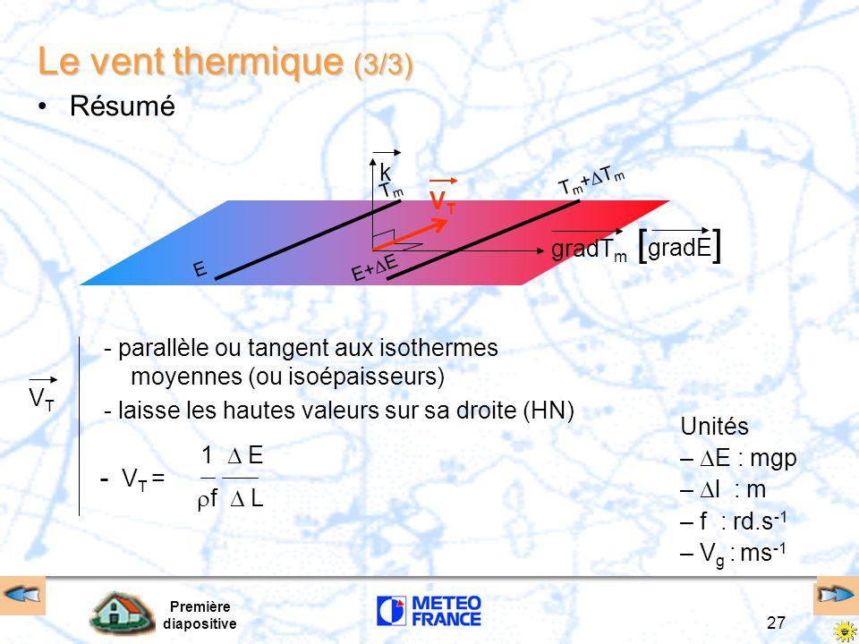 Première diapositive 27 Le vent thermique (3/3) Résumé Tm+TmTm+Tm E+  E TmTm E kVTVT gradT m [ gradE ] - parallèle ou tangent aux isothermes moyennes (ou isoépaisseurs) - laisse les hautes valeurs sur sa droite (HN) Unités –  E : mgp –  l : m – f : rd.s -1 – V g : ms -1 VTVT V T =  f  L 1  E