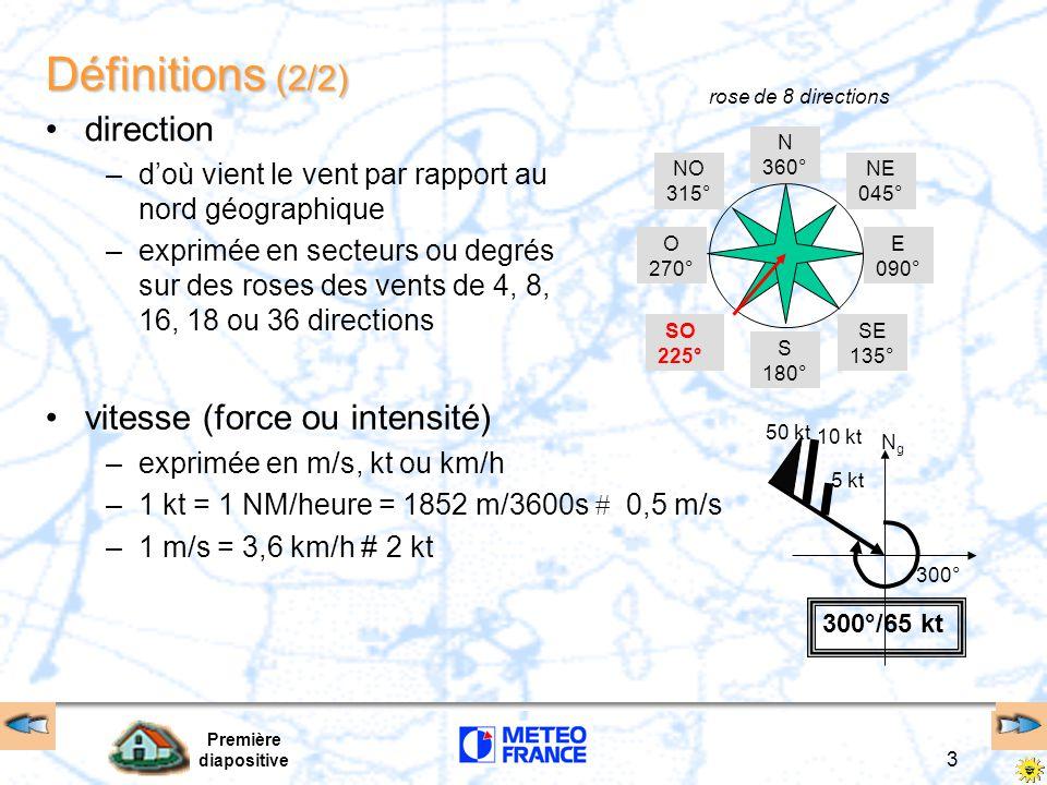 Première diapositive 3 Définitions (2/2) direction –d'où vient le vent par rapport au nord géographique –exprimée en secteurs ou degrés sur des roses