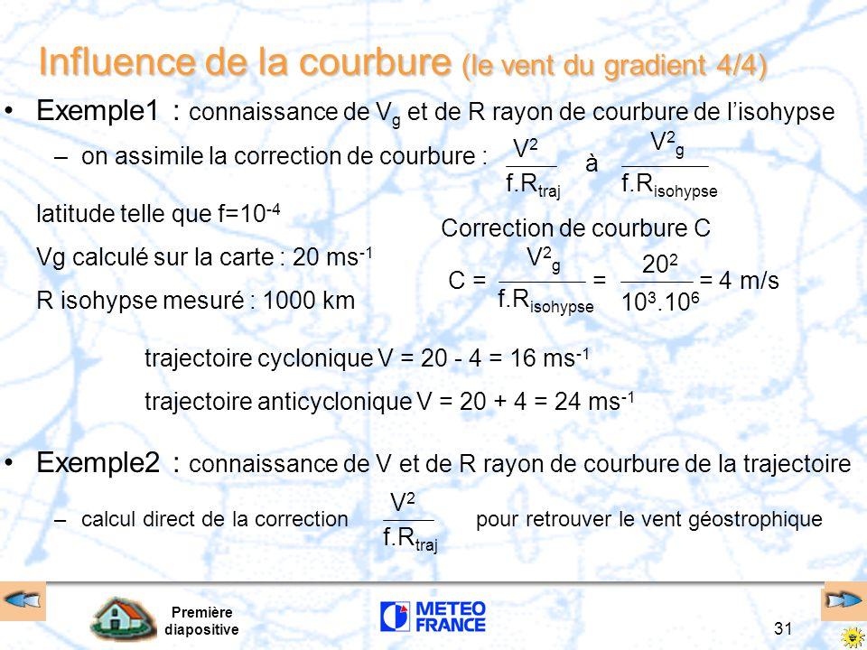 Première diapositive 31 Influence de la courbure (le vent du gradient 4/4) Exemple1 : connaissance de V g et de R rayon de courbure de l'isohypse –on assimile la correction de courbure : latitude telle que f=10 -4 Vg calculé sur la carte : 20 ms -1 R isohypse mesuré : 1000 km Correction de courbure C trajectoire cyclonique V = 20 - 4 = 16 ms -1 trajectoire anticyclonique V = 20 + 4 = 24 ms -1 f.R traj V2V2 f.R isohypse V2gV2g à V2gV2g C = = = 4 m/s 10 3.10 6 20 2 Exemple2 : connaissance de V et de R rayon de courbure de la trajectoire –calcul direct de la correction pour retrouver le vent géostrophique f.R traj V2V2