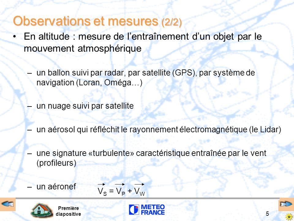 Première diapositive 5 En altitude : mesure de l'entraînement d'un objet par le mouvement atmosphérique –un ballon suivi par radar, par satellite (GPS), par système de navigation (Loran, Oméga…) –un nuage suivi par satellite –un aérosol qui réfléchit le rayonnement électromagnétique (le Lidar) –une signature «turbulente» caractéristique entraînée par le vent (profileurs) –un aéronef Observations et mesures (2/2) V S = V P + V W