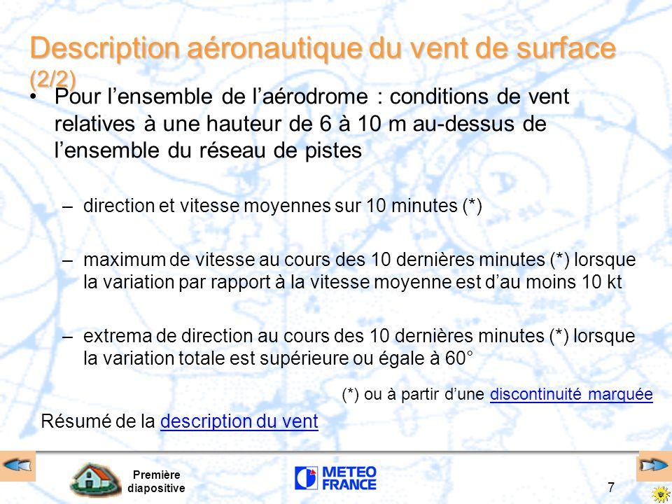 Première diapositive 7 (*) ou à partir d'une discontinuité marquéediscontinuité marquée Résumé de la description du ventdescription du vent Descriptio