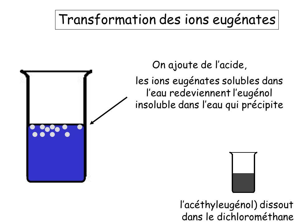 La redissolutiuon de l'eugénol l'acéthyleugénol) dissout dans le dichlorométhane On ajoute à nouveau du dichlorométhane Ici c'est la phase aqueuse contenant maintenant de l'acide seul… L'eugénol soluble dans le dichlorométhane se solubilise à nouveau
