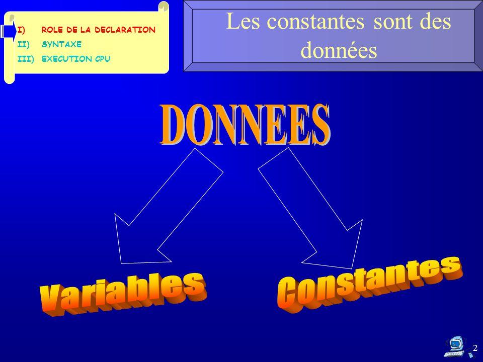 2 Les constantes sont des données I)ROLE DE LA DECLARATION II)SYNTAXE III)EXECUTION CPU