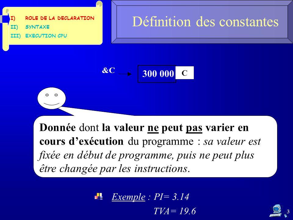 3 Définition des constantes I)ROLE DE LA DECLARATION II)SYNTAXE III)EXECUTION CPU &C C Donnée dont la valeur ne peut pas varier en cours d'exécution du programme : sa valeur est fixée en début de programme, puis ne peut plus être changée par les instructions.