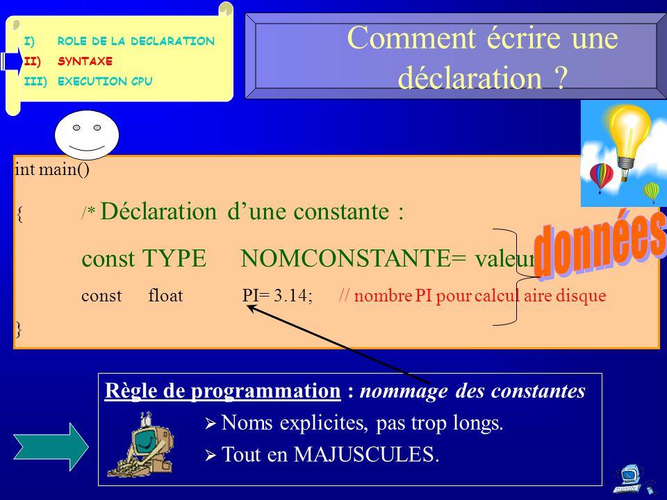 I)ROLE DE LA DECLARATION II)SYNTAXE III)EXECUTION CPU Comment écrire une déclaration .