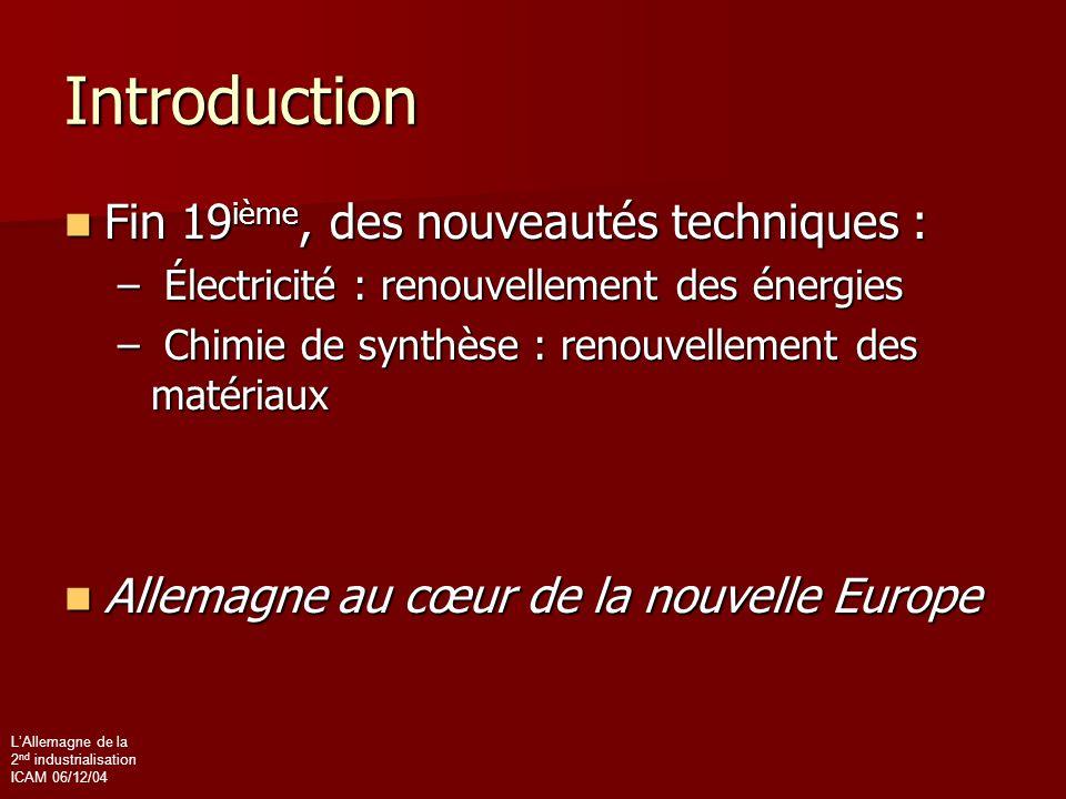 L'Allemagne de la 2 nd industrialisation ICAM 06/12/04 Introduction Fin 19 ième, des nouveautés techniques : Fin 19 ième, des nouveautés techniques :