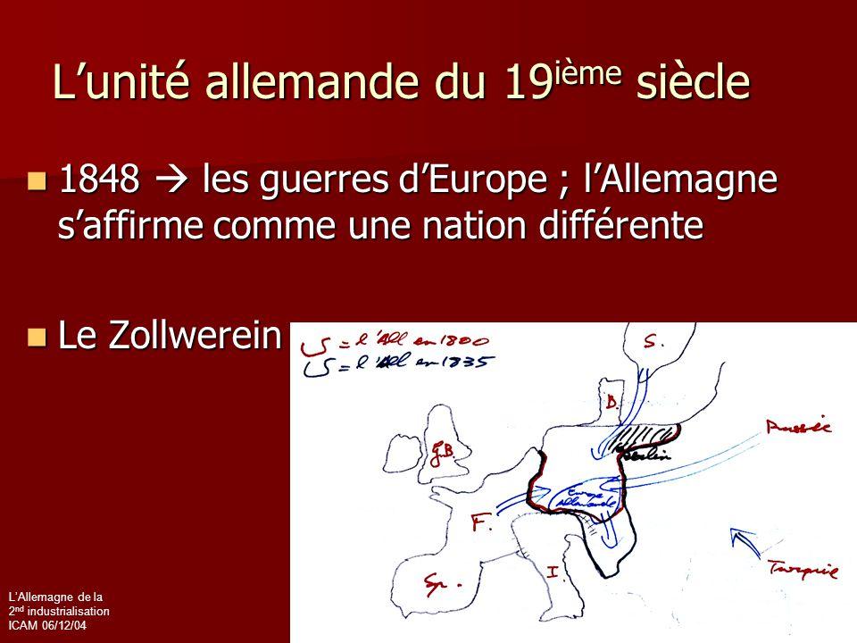 L'Allemagne de la 2 nd industrialisation ICAM 06/12/04 L'unité allemande du 19 ième siècle 1848  les guerres d'Europe ; l'Allemagne s'affirme comme u