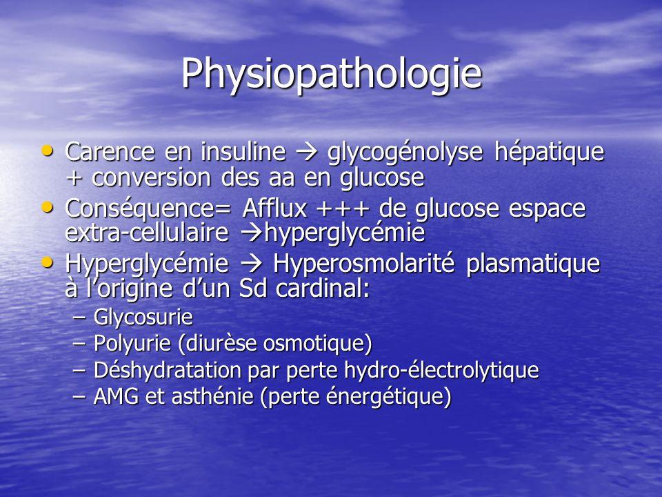 Physiopathologie Carence en insuline  glycogénolyse hépatique + conversion des aa en glucose Carence en insuline  glycogénolyse hépatique + conversi