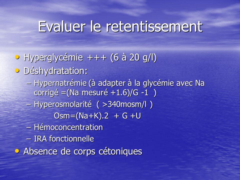Evaluer le retentissement Hyperglycémie +++ (6 à 20 g/l) Hyperglycémie +++ (6 à 20 g/l) Déshydratation: Déshydratation: –Hypernatrémie (à adapter à la