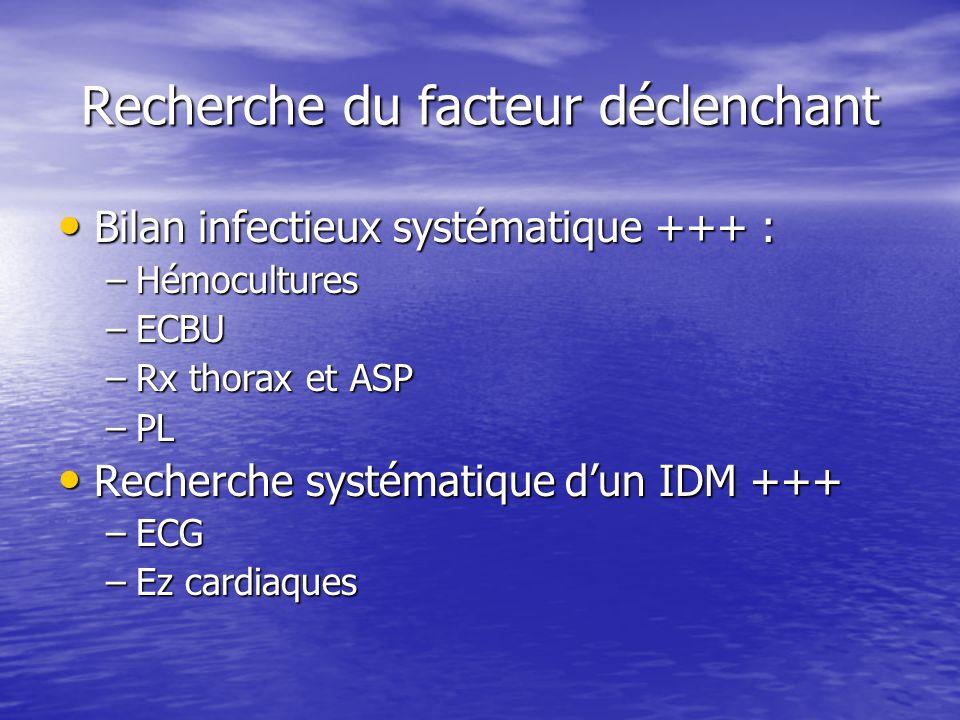 Recherche du facteur déclenchant Bilan infectieux systématique +++ : Bilan infectieux systématique +++ : –Hémocultures –ECBU –Rx thorax et ASP –PL Rec