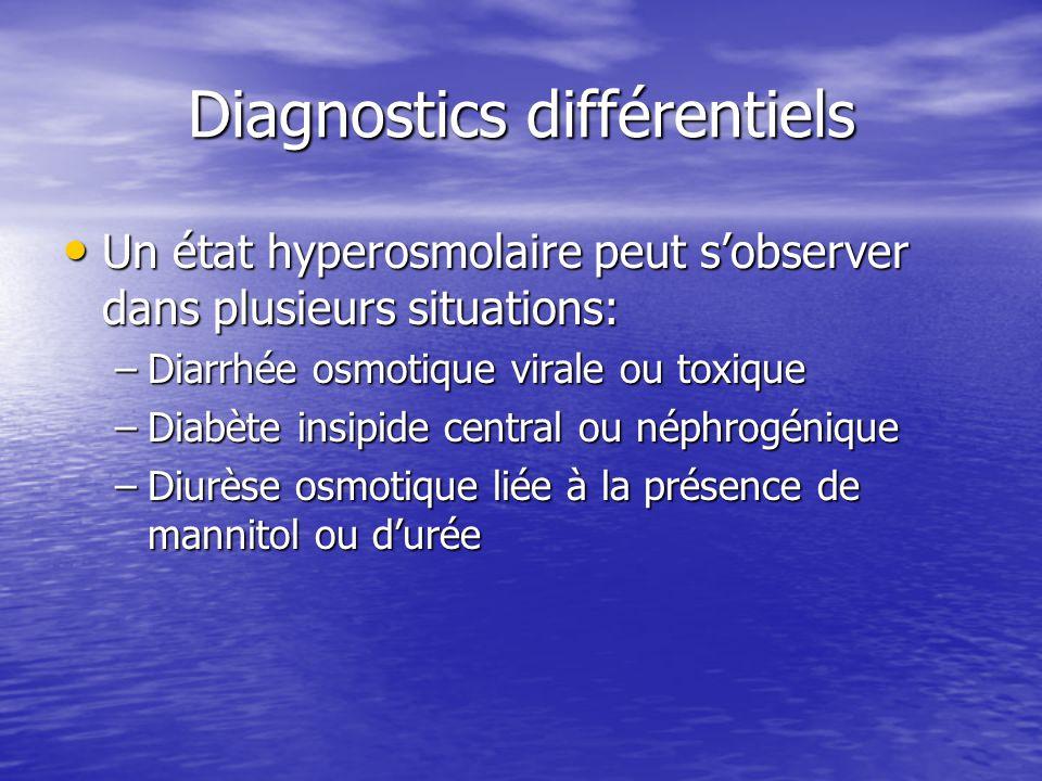 Diagnostics différentiels Un état hyperosmolaire peut s'observer dans plusieurs situations: Un état hyperosmolaire peut s'observer dans plusieurs situ