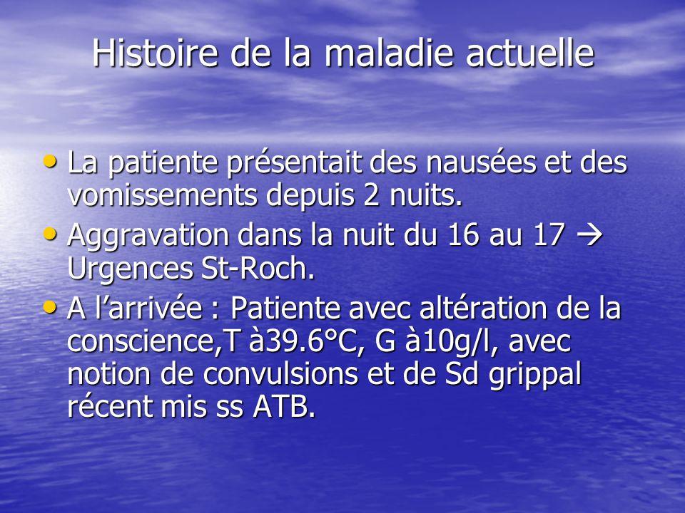 Histoire de la maladie actuelle Aux urgences: - SAP insuline Aux urgences: - SAP insuline - KCl 1.5g/h - KCl 1.5g/h A l'arrivée dans le service: patiente somnolente mais cohérente.
