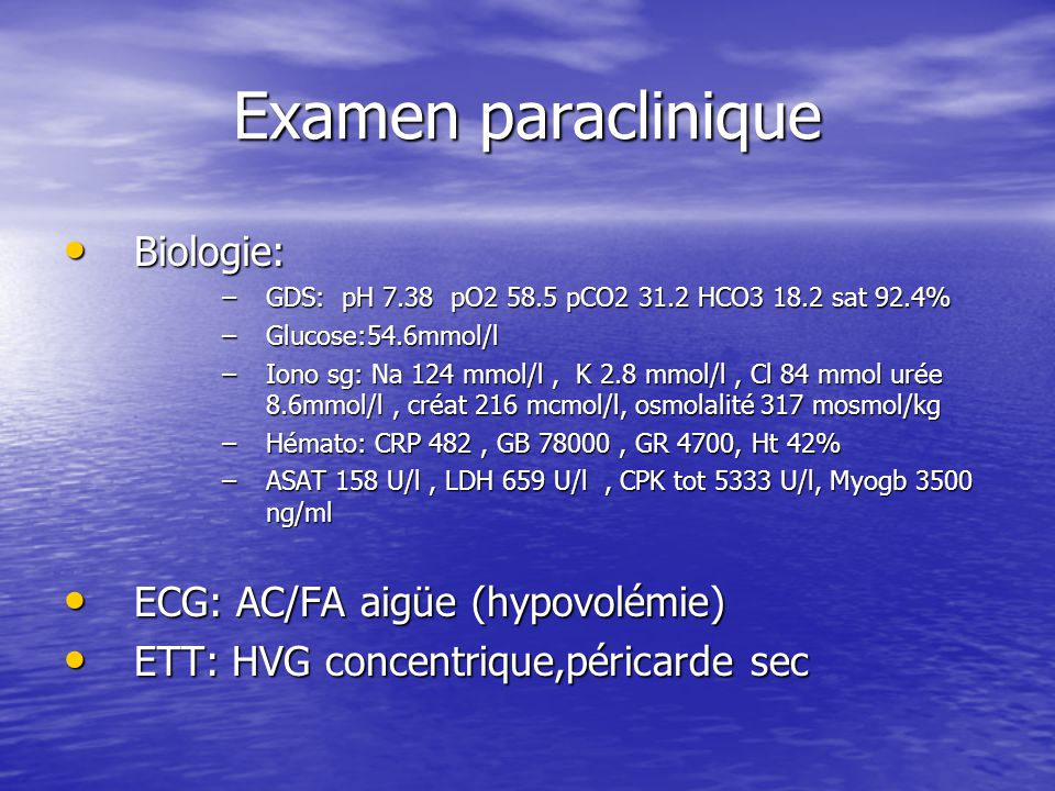 Paraclinique ECBU: E.Coli ECBU: E.Coli EEG: Signes d'encéphalopathie métabolique avec un état de mal épileptique généralisé (convulsions infracliniques) EEG: Signes d'encéphalopathie métabolique avec un état de mal épileptique généralisé (convulsions infracliniques) PL: Culture stérile PL: Culture stérile ECBC: Levures ECBC: Levures