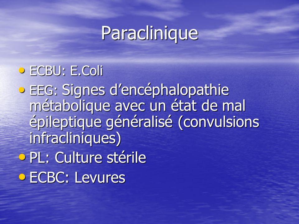 Paraclinique ECBU: E.Coli ECBU: E.Coli EEG: Signes d'encéphalopathie métabolique avec un état de mal épileptique généralisé (convulsions infraclinique