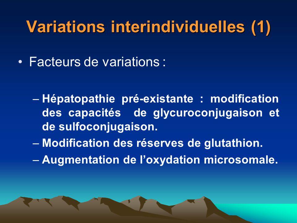 Variations interindividuelles (1) Facteurs de variations : –Hépatopathie pré-existante : modification des capacités de glycuroconjugaison et de sulfoc
